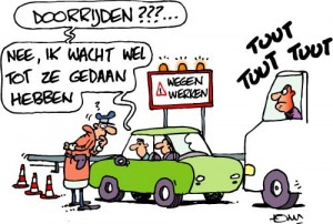 cartoon wegenwerken
